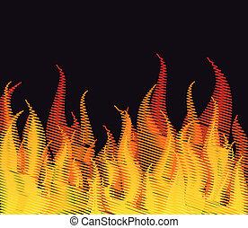 rabisco, fogo, ligado, black., vetorial