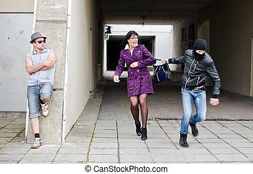 rablás, tolvaj, napvilág, utca., bag., steals