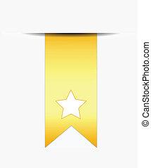 rabo, fita, estrela, branca, ouro