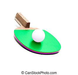 racchetta, palla tennis, isolato, tavola
