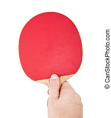 racchetta, ping-pong, rosso, mano