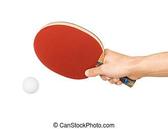 racchetta, tavola, bianco, tennis, mano