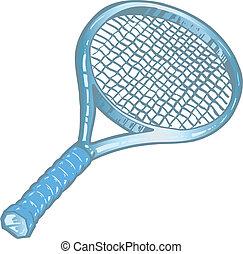 racchetta, tennis, argento, illustrazione