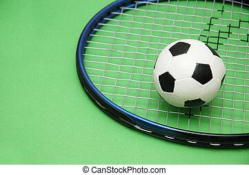 racchetta, tennis, football, sfondo verde