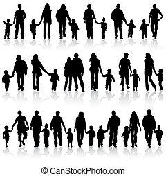 raccogliere, silhouette, famiglia