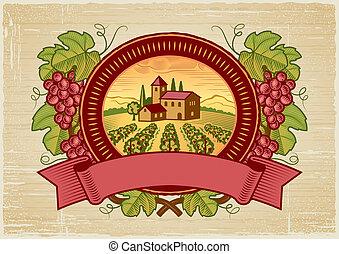 raccogliere, uva, etichetta