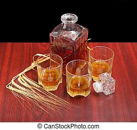 raccoglitori, whisky, tre, orzo, caraffa, parecchi, occhiali