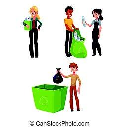 raccolta, concetto, immondizia, persone, riciclaggio, bottiglie, plastica, spreco