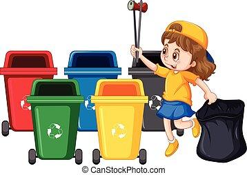 raccolta, ragazza, rifiuti, pulizia