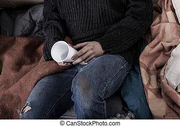raccolta, soldi, senzatetto, uomo