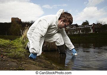 raccolta, specialista, acqua, potenzialmente, campioni,...