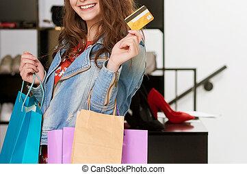 raccolto, foto, di, cliente, con, dorato, carta credito, e, packages.