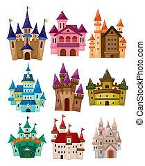 racconto, castello, icona, fata, cartone animato