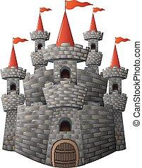 racconto, castello, pietra, fata, cartone animato
