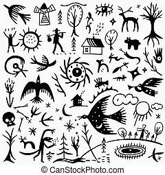 racconto, doodles, fata, natura