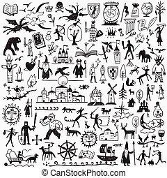 racconto, doodles, fata, storia