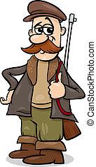 racconto, fata, cacciatore, cartone animato, illustrazione