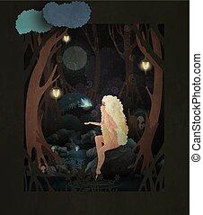 racconto, fata, decorato, fronte, vettore, notte, seduta, foresta, parlare, uccello, cielo scuro, magia, ragazza, illustration., moon., lanterne pietra