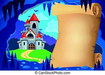 racconto, immagine, caverna, 1, fata, pergamena