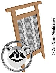 Raccoon and board washing