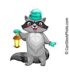 Raccoon animal with knitted hat and lantern