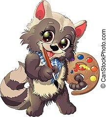 raccoon artist - beautiful and cute raccoon artist with a...