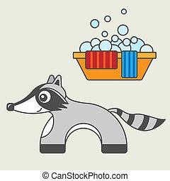 Raccoon cartoon style, vector art for kids