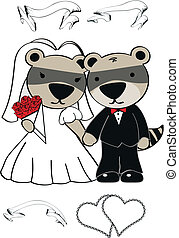 raccoon  cartoon wedding set