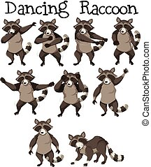 Raccoon character dance position