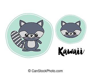 raccoon character kawaii style isolated icon design