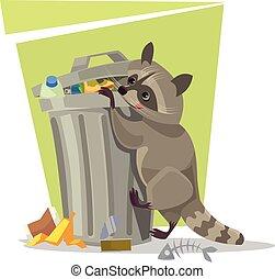 Raccoon character looking for food in trash can. Vector flat cartoon illustration
