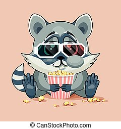 Raccoon cub watching a movie