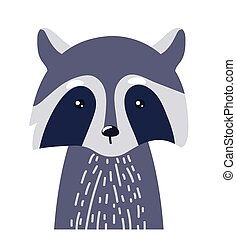 Raccoon cute animal baby face vector illustration. Hand drawn style nursery character. Scandinavian funny kid design