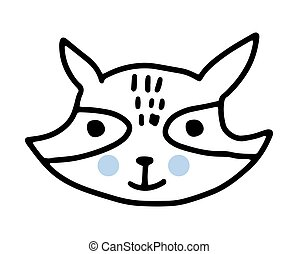 Raccoon doodle. Hand drawn lines cartoon vector illustration isolated on white background.