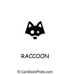 Raccoon flat vector icon