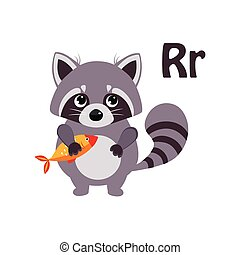 Raccoon. Funny Alphabet, Animal Vector Illustration