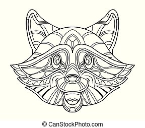 Raccoon head coloring page - Hand-drawn raccoon head...
