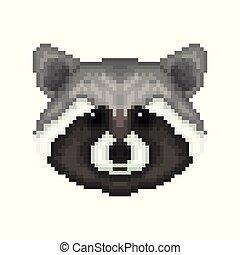 Raccoon head in pixel art style.