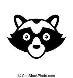 Raccoon Head Logo Style  Icon. Vector