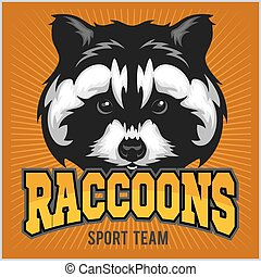 Raccoon head - sport emblem vector illustration