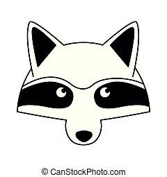 Raccoon head wild animal on black and white