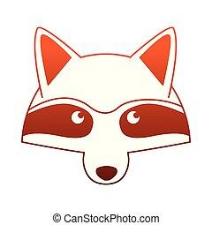 Raccoon head wild animal on red lines