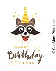 Raccoon Head with Lettering Happy Birthday