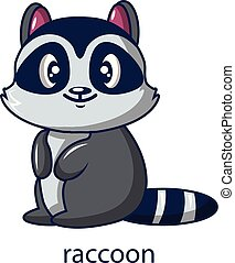 Raccoon icon, cartoon style