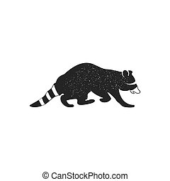 Raccoon icon isolated on white background. Wild animal silhouette symbol. Black pictogram for magaines, infographics, logo templates, badges. Stock vector. Monochrome design