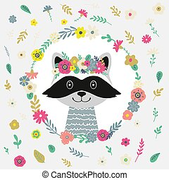 Raccoon Illustrations with flowers.