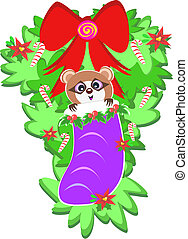Raccoon in a Christmas Stocking