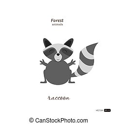 Raccoon in cartoon style on white background