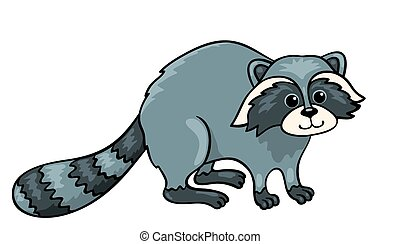 Raccoon isolated on white. Vector cartoon illustration.