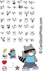 raccoon kid cartoon set1 - raccoon kid cartoon set in vector...